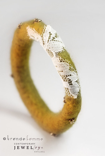 Antique Gold -- Hand Felted Bangle
