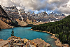 Stormy Morning at Moraine (Jeff Clow) Tags: canada storm mountains weather landscape albertacanada banffnationalpark morainelake canadianrockies glaciallake therockpile
