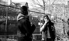 Plottin' near the 'Jects (m) (Brother Christopher) Tags: portraits portrait outdoors outside brooklyn videoshoot musicvideo artist hiphop culture monochrome rap camera angles relationships love fun comedy laughs daytime streets streetphotography art pose appeal explore style
