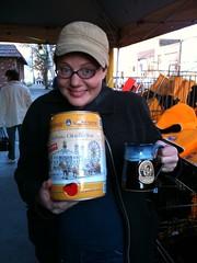 Would you like some beer? (jen.dobbs) Tags: hat yellow paige tshirt oktoberfest mug dork stripdistrict saturdayafternoon steerlers