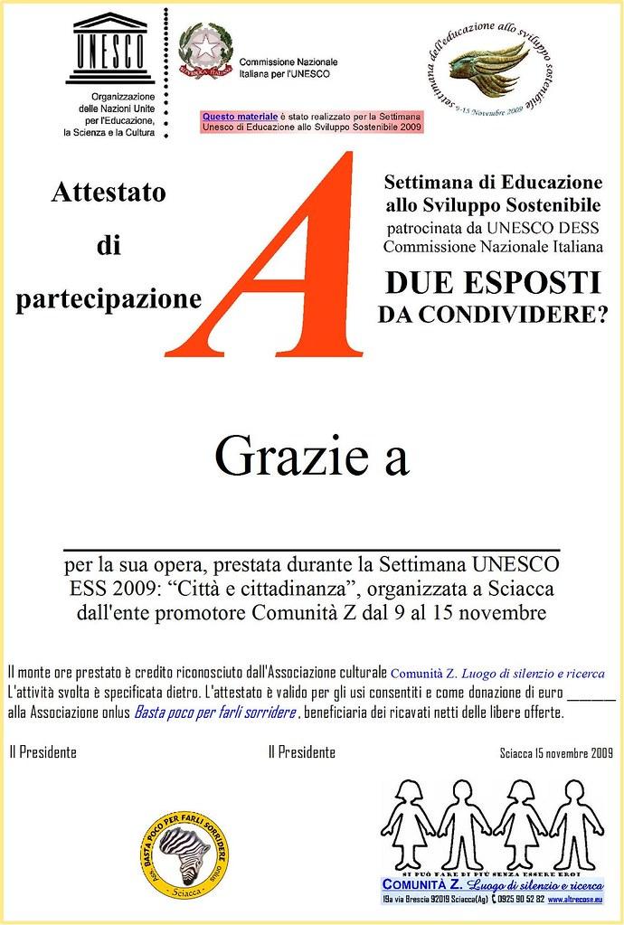 Attestati per Settimana UNESCO 2009 a Sciacca