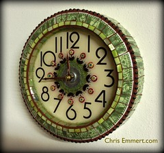 Margaux Mosaic Art Clock (Chris Emmert) Tags: china green clock beads recycled mosaic mixedmedia resin milli frit motherofpearl millefiori glasstile ballchain upcycled dinnerplates flickrmosaicartists chrisemmertcom