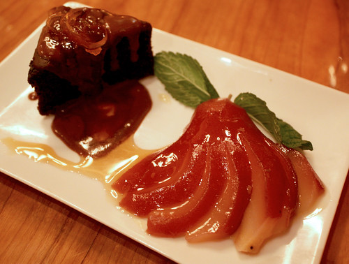 Poached Pear and Chocolate Cake