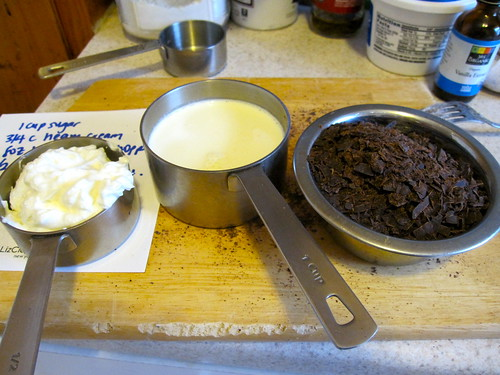 Chocolate Caramel Cheesecake: Getting ready for the chocolate caramel sauce