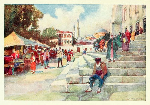 027-Mercado en el patio de la mezquita del sultan Ahmed I- Constantinople painted by Warwick Goble (1906)