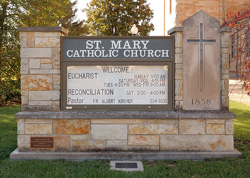 Saint Mary Roman Catholic Church, in Trenton, Illinois, USA - sign