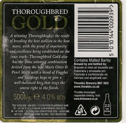 Thwaites Thoroughbred Gold back