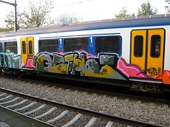 RTA 20091030 15.41 (oerendhard1) Tags: streetart train graffiti ns tag vandalism spraypaint piece railways trein traingraffiti spoorwegen paintedtrains railart europeansteel dutchdamage