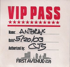 05/20/03 Motorhead/Anthrax @ 1st Avenue, Minneapolis, MN (VIP Pass)