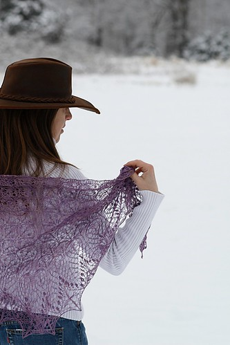 Echo Flower Shawl - wild violet silk