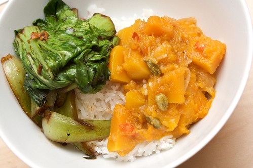 pumpkin curry + bok choy in garlic soy sauce