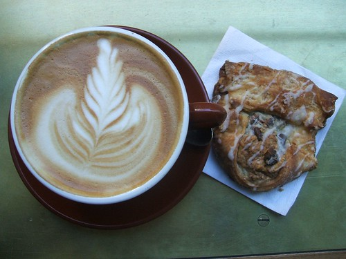 latte & peanut butter banana chocolate chip danish.