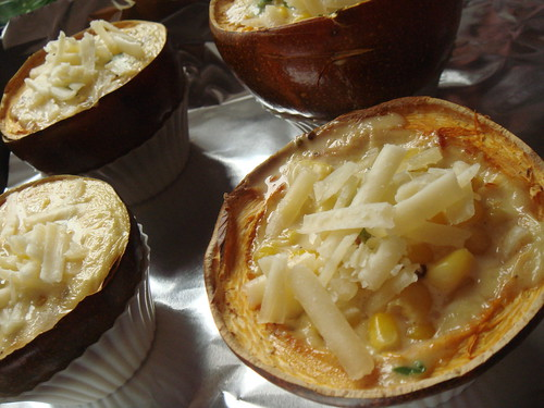 Roasted Corn Pudding In Gem Squash: Cheesy!