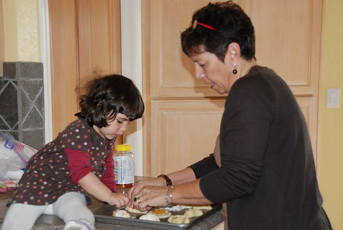 Making hamentaschen with Grandma