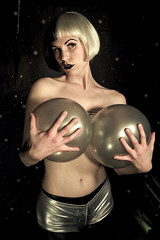 Zeppelin (TerryJohnston) Tags: face female balloons michigan scifi grandrapids sciencefiction burlesque portriat grap audria promoshoot amazingmich superhappyfuntimeburlesque canoneos5dmarkii 5dmarkii missaudacious