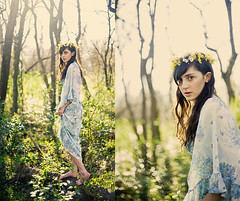 flowerchild (rockie nolan) Tags: two girl fashion canon 50mm woods diptych nolan environmental style retro portraiture hippie 5d 1970s f18 backlighting rockie