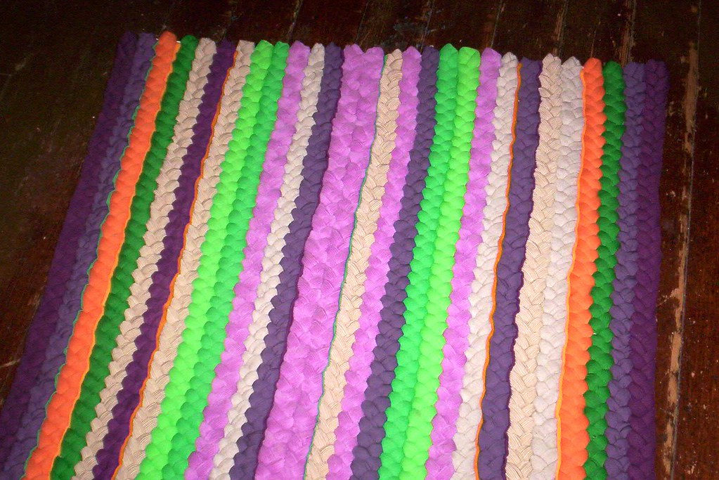 Colorful Linear Hand Braided Rug