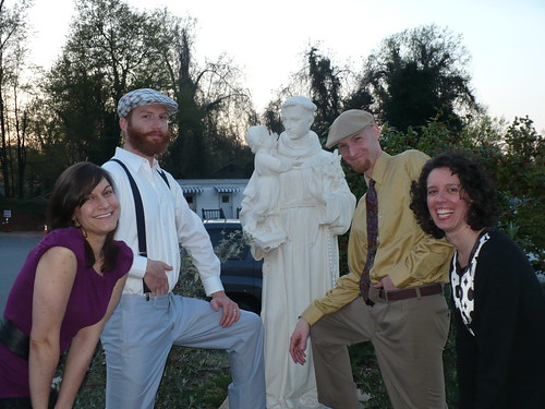 acting goofy with st. francis (?) before easter vigil
