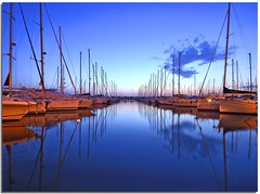 The additional element (Nespyxel) Tags: seascape lines alberi port reflections mirror harbour barche calm explore porto bluehour riflessi sera specchio linee civitavecchia boarts orablu evenening simmetrie symmetries colorphotoaward refelxes