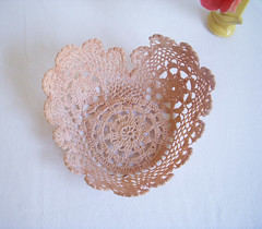 doily heart bowl (gathering spriggs) Tags: pink peach bowl doily handdyed