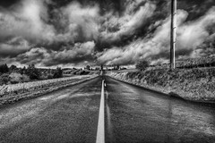 Wine Country Road (robert.hamilton) Tags: road morning sky bw white storm black clouds oregon interesting nikon pacific northwest wine dundee country stripe dramatic tokina capture hdr d90 photomatix 1116 nx2