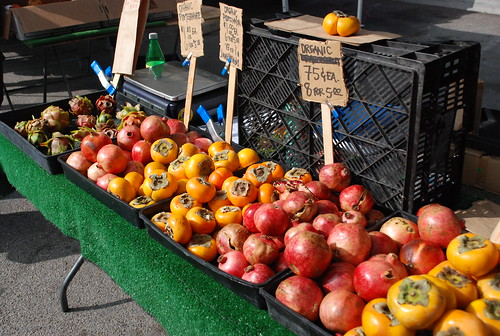 pomegranates and persimmons at the Santa Monica Farmers' Market