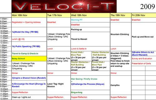 velocit schedule 2009