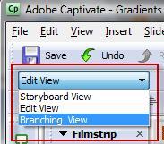 Choose Edit View in Adobe Captivate