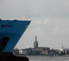 I See No Ships (Grooover) Tags: uk church ferry suffolk seaside ship container felixstowe harwich bintan maersk languard grooover maerskbintan 9vfk4 imo9355288