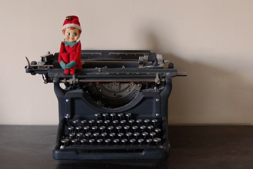 Elf on the typewriter.