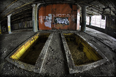 The Graves of Fisher Body Plant 21 (Sam Attal) Tags: red plant building abandoned window yellow canon downtown factory 21 body michigan detroit graves fisheye fisher column hdr 15mmlens