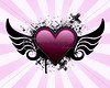 Heart with wings and grunge background Heart with wings