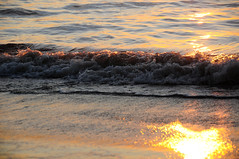 Amber Tides (RTBlue300) Tags: ocean sunset sunlight color beach water reflections nikon waves vibrantcolor d300 caliboguesound reflectionoflight nikond300