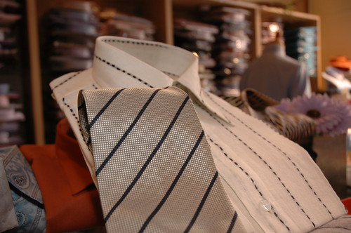 Striped white and tie