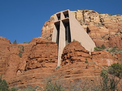 Chapel of the Holy Cross - Sedona, Arizona (Dougtone) Tags: red arizona cactus cliff church sandstone desert sedona chapel franklloydwright mesa chapeloftheholycross margueritebrunswigstaude