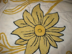 YELLOW WOOL CHAIN STITCH FLOWER (RubyGoes) Tags: india black wool yellow needlework embroidery indian cotton kashmir ari bedspread kashmiri crewel khadi chainstitch counterpane khaddar