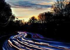 Evening Rush Hour (noblerzen) Tags: street longexposure sunset cars delete10 washingtondc twilight nikon traffic maryland dcist rushhour lighttrails save5 silverspring d90 route29 colesvilleroad burntmills