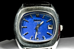 Seiko Automatic (Curtis Gregory Perry) Tags: blue clock face lens ed photography photo movement hands nikon day hand control time crystal watch perspective band dial shift case timepiece automatic 17 crown 24mm wristwatch date nikkor jewels tilt seiko f35 d300 complication