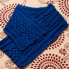Blue Scarf (Moonlight Witch) Tags: blue scarf stitch handmade knit cable knitted aran braid interweave