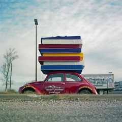 The Bed Bug (patrickjoust) Tags: auto usa color 6x6 tlr film vw analog bug volkswagen square lens us reflex nc bed focus automobile fuji mechanical united north ad beetle rocky patrick twin stack advertisement mount mat negative v 124g carolina pro epson medium format states manual 500 80 joust mattress yashica 220 estados 80mm f35 fujicolor c41 unidos yashinon v500 160s autaut patrickjoust