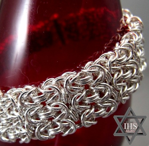 Heavier Argentium Byzantine Cuff Bracelet -- Perfect for a man or woman