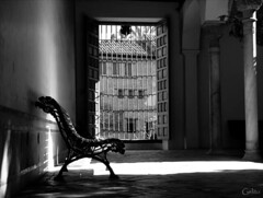 Luces y sombras I (Gelito) Tags: españa contraluz ventana reja andalucía bn alhambra granada palaciosnazaríes patiodelindaraja gelito tff1 goldcruzadasi
