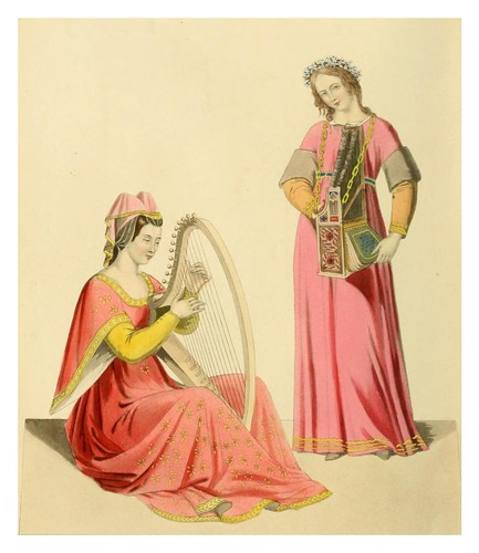 009-Damas tocando el arpa y organillo siglo XIV-Dresses and decorations of the Middle Ages 1843- Henry Shaw