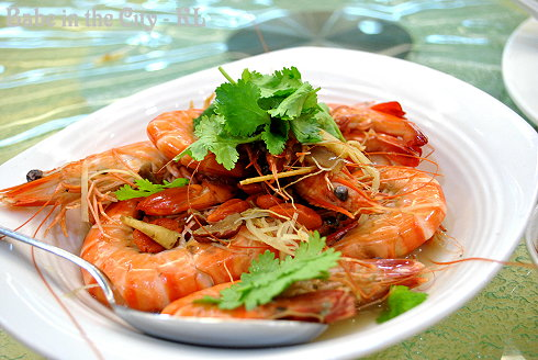 Steamed Prawns in Wine and Herbs