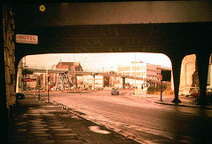 1970s Bristol - Temple Way flyover from under the old Docks railway bridge (emmdee) Tags: ford car bristol slide morrisminor morris 1970s 1980s fordanglia morrisminortraveller templeflyover