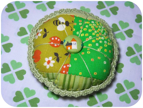 green pincushion