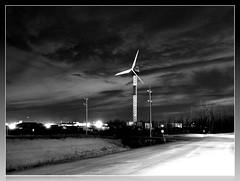 Wind Turbine (Stella Blu) Tags: road stella winter snow canada cold night dark blackwhite energy power wind blu country alberta electricity handheld sweep windturbine afterdark cleanpower gamewinner nisku nikkor18200 achallengeforyou fotocompetition fotocompetitionbronze nikond5000 storybookwinner 3652010