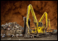 Scrap yard in Chicago (Mister Joe) Tags: chicago metal garbage junk nikon industrial crane machine joe claw scrapyard redsky waste scrap hdr scrapmetal