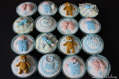 Baby Shower Cupcakes .... (abbietabbie) Tags: baby feet cake fruit train butterfly bottle teddy bib explore cupcake blanket icing marzipan rattle fondant
