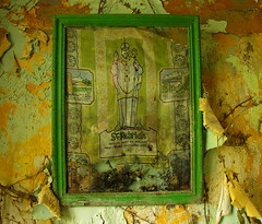 Saint Patrick (hmb52) Tags: ireland green paint framed cottage icon abandonded mayo stpatrick derelict deserted croaghpatrick saintpatricksday flaked thereek